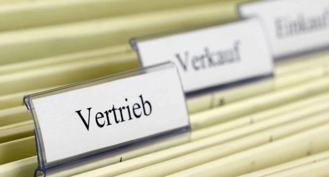 "5177082 - close-up hanging folder ""vertrieb"" what means ""distribution"" in german"