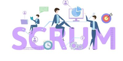 SCRUM framework. Concept with keywords, letters and icons. Colored flat vector illustration on white background.