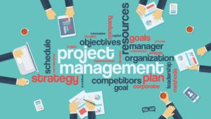 Project management infographics poster with businessmen working around the word cloud. Analysis and planning keywords. Office objects